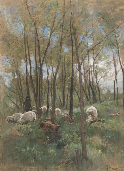 Schafherde im Wald, Anton Mauve von Meesterlijcke Meesters
