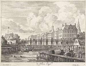 Blick auf die Blauwbrug über die Amstel, Abraham Bloteling