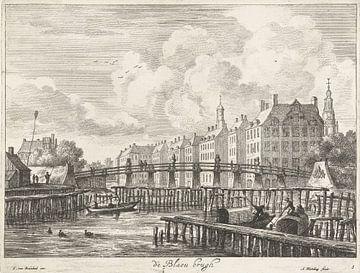 Gezicht op de Blauwbrug over de Amstel, Abraham Bloteling von Meesterlijcke Meesters