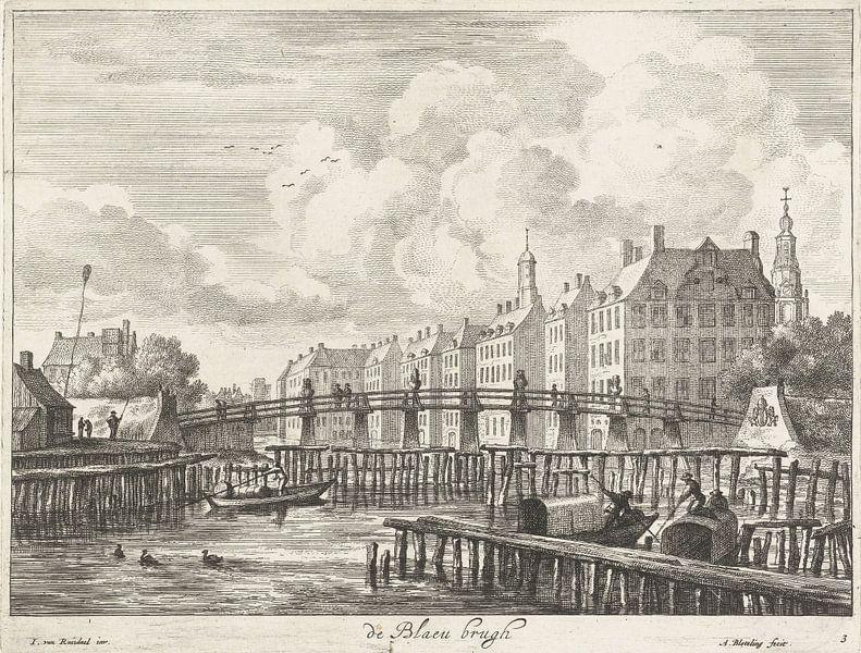 Blick auf die Blauwbrug über die Amstel, Abraham Bloteling von Meesterlijcke Meesters