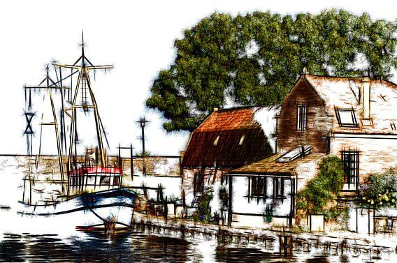 Vissersboot in Enkhuizen van Mike Bing