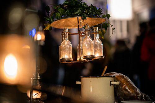 Decoratieve vintage flessen lamp