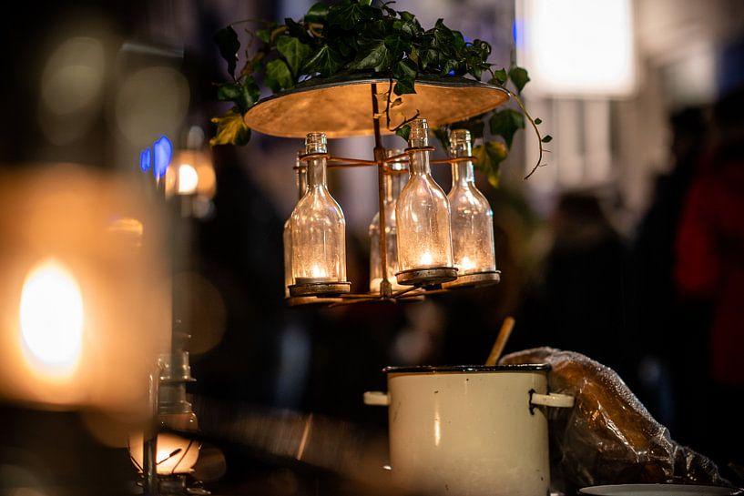 Decoratieve vintage flessen lamp van Fotografiecor .nl