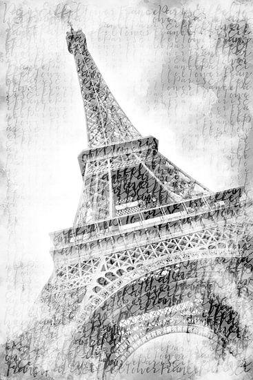 PARIJS eiffeltoren | aquarel in zwart en wit van Melanie Viola