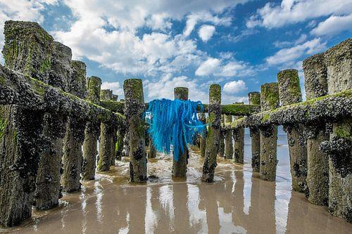 Zeeuwse kust met paalhoofden van