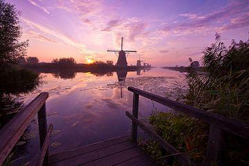 Mühlen in Kinderdijk bei Sonnenaufgang von Peter Halma