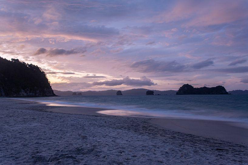 Hahei Beach sunset van Ton de Koning
