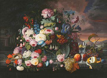 Stillleben von Blumen und Früchten mit einer Flusslandschaft in der Ferne, Severin Roesen