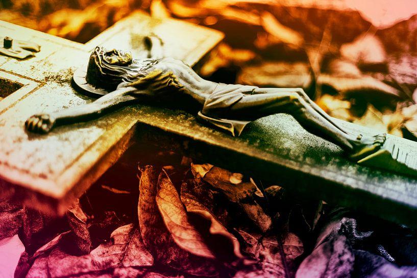 Jesus in a bed of leaves (Jezus in een bed van bladeren) van 2BHAPPY4EVER.com photography & digital art