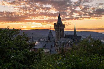 Schloss Wernigerode bei Sonnenuntergang van Oliver Henze