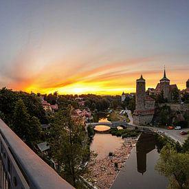 Panorama de la vieille ville de Bautzen au coucher du soleil sur Frank Herrmann