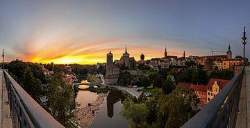 Panorama de la vieille ville de Bautzen au coucher du soleil