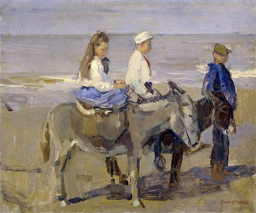 Jongen en meisje op ezeltjes, Isaac Israels van Hollandse Meesters