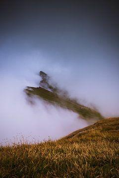 Bergkam gehuld in een sluier van mist van StephanvdLinde
