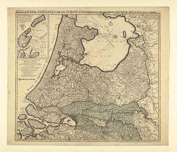 Kaart van de Provincies Holland omstreeks 1740 van Gert Hilbink