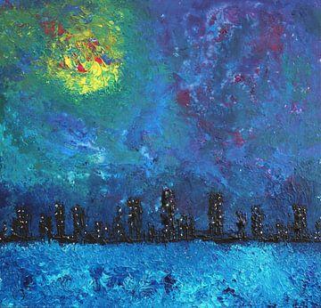 Volle maan over waterstad van Erik Tanghe