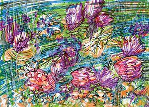 Rivier met bloemen van