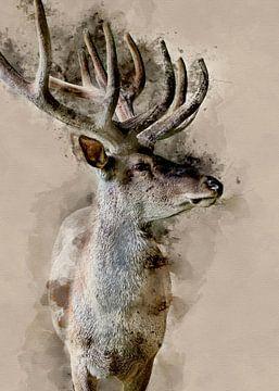 Digitale Grafik eines roten Hirsch von Art by Jeronimo