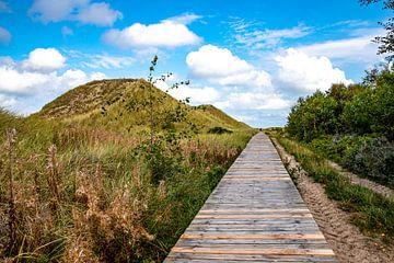 Houten wandelpad langs de duinen naar Wittdün van Alexander Wolff