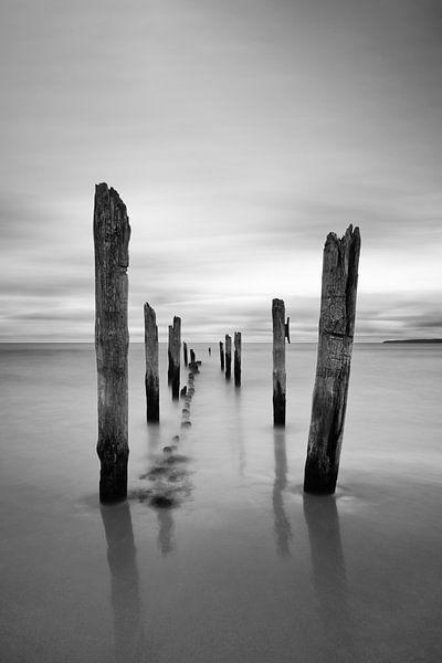 Holzstangen am Strand von Ralf Lehmann