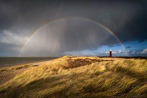 Een regenboog boven de vuurtoren van Ouddorp van Ellen van den Doel