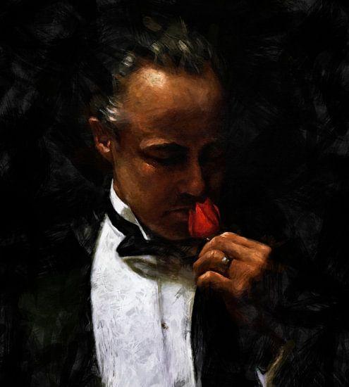 The Offer - Schilderij Godfather Schilderij 2 | Marlon Brando schilderij 2 van Kunst Company