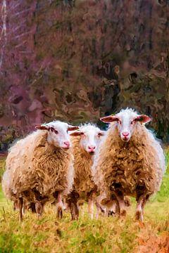 Hoog Buurlo en de schapen. van Frans Van der Kuil