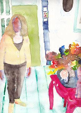 Kleurrijk interieur met dame en bloemstuk van Catharina Mastenbroek