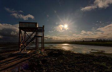 Binnenveld met uitkijktoren tijdens lage zon van Eric Wander