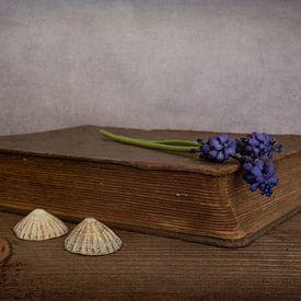 Stilleben mit Buch und blauen Weintrauben von Elly van Veen