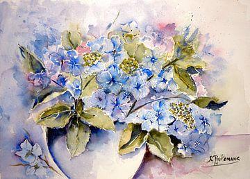 Hortensias en vase sur Rita Tielemans