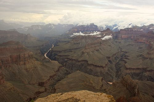 Grand Canyon met lage bewolking van Louise Poortvliet