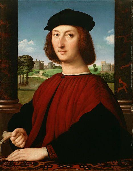 Porträt eines jungen Mannes in Rot, Rafaël von Meesterlijcke Meesters