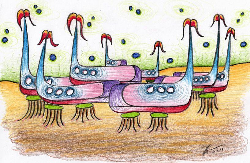 Kleurrijke fantasie tekening van Gabi Gaasenbeek