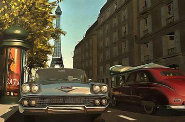 Amerikaanse oldtimers in Parijs van Jan Keteleer