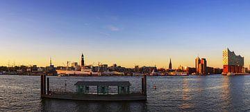 Zonsondergang in Hamburg (Panorama) van Frank Herrmann