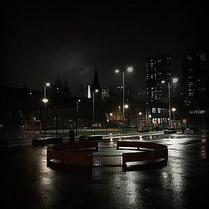 Verlaten speelplein in Rotterdam van