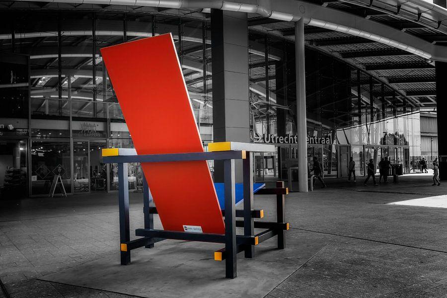 Rood Blauwe Stoel : Rood blauwe stoel van jan vd knaap op canvas behang en meer