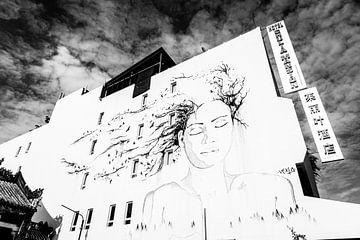 Vrouwen portret op een muur van Ellis Peeters