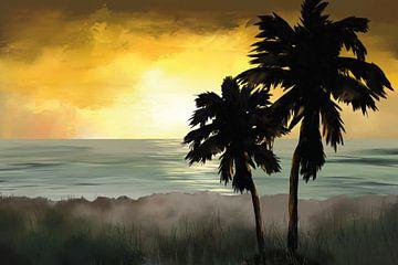 Zwei Palmen an einem Strand bei Sonnenuntergang von Tanja Udelhofen