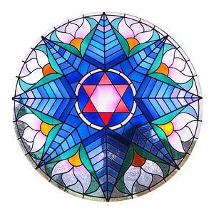 Glas-in-lood raam Alkmaarse synagoge van