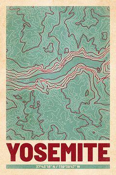 Yosemite Valley | Landkarte Topografie (Retro) von ViaMapia