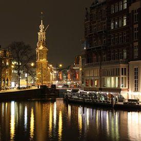 Amsterdam bij Nacht van Paul Franke
