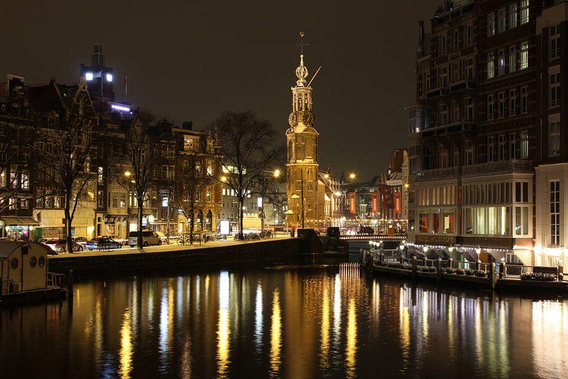 Amsterdam la nuit avec Westertoren sur Paul Franke