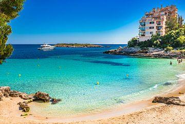 Mooi strand met luxe jacht op Mallorca, prachtige baai van Platja Illetes van Alex Winter