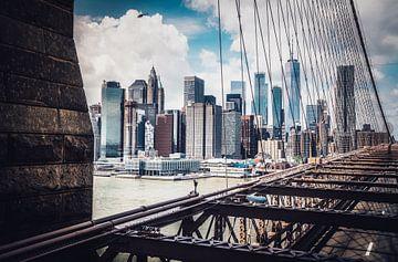 Zicht vanaf de Brooklyn Bridge van Joris Pannemans - Loris Photography