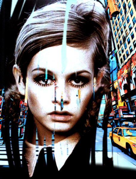 Twiggy Urban Collage Pop Art PUR