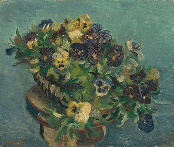 Mand met viooltjes op een tafel, Vincent van Gogh van
