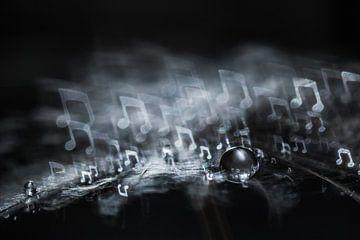 Goutte d'eau sur une peluche avec bokeh sous forme de note de musique sur Bert Nijholt