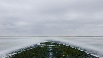 Pier van de Hondsbossche zeewering in het donker sur